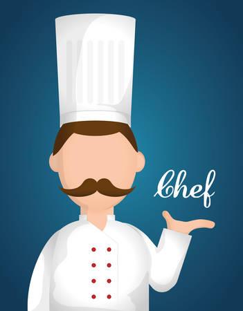 kitchen cartoon: Dise�o del cocinero sobre el fondo azul, ilustraci�n vectorial.