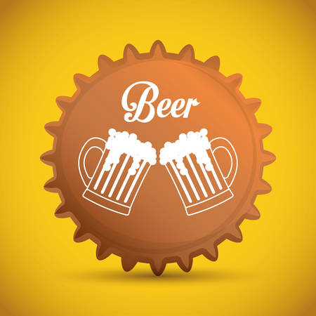 nutriments: Beer design over yellow background,vector illustration.