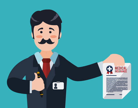 醫療保健: 醫療保險在設計,藍色背景,矢量插圖。 向量圖像