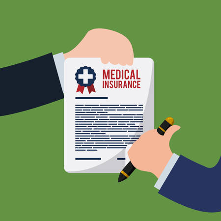 Medical insurance design over green background, vector illustration.