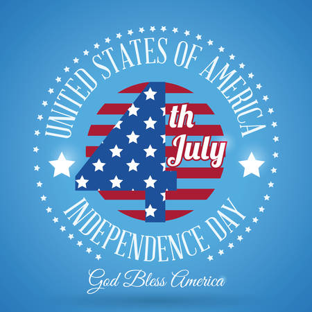 bless: Independence day colorful card design, vector illustration.