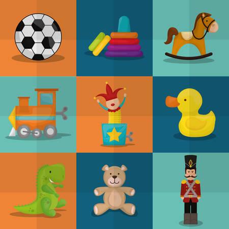juguetes: Dise�o de los juguetes del beb� sobre el fondo colorido, ilustraci�n vectorial.