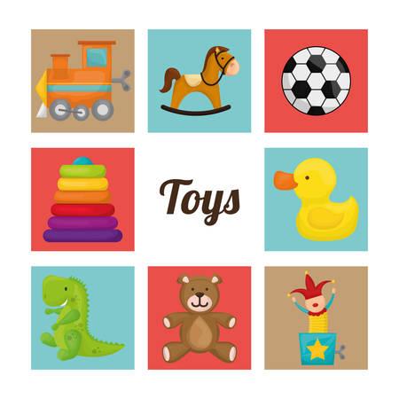 dinosaurio caricatura: Dise�o de los juguetes del beb� sobre el fondo blanco, ilustraci�n vectorial.