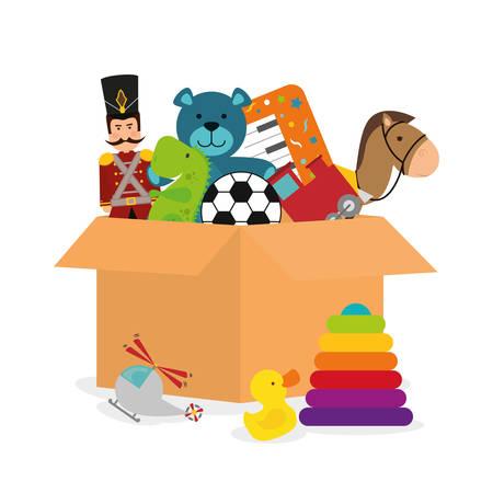 juguetes: Dise�o de los juguetes del beb� sobre el fondo blanco, ilustraci�n vectorial.