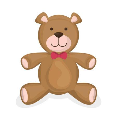 oso de peluche: Diseño de los juguetes del bebé sobre el fondo blanco, ilustración vectorial.