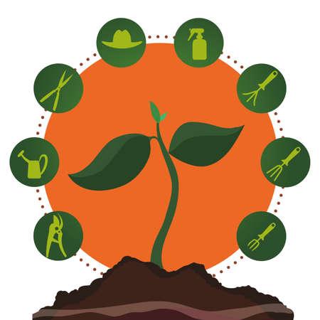 shove: Gardening design over white background, vector illustration Illustration