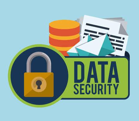 privacidad: Diseño de datos sobre el fondo azul, ilustración vectorial.
