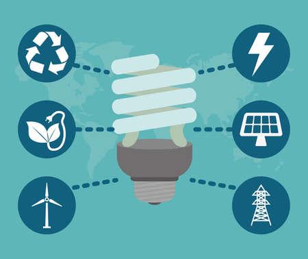 safe world: Energy design over blue background, vector illustration.
