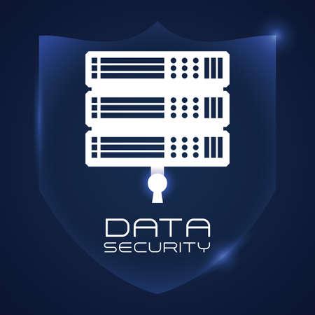 private server: Data design over blue background, vector illustration.
