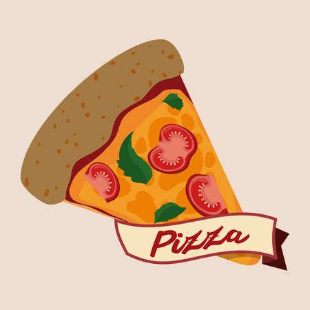 aliment: Pizza design over beige background, vector illustration.