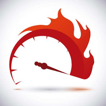 llamas de fuego: Dise�o de velocidad sobre el fondo blanco, ilustraci�n vectorial.