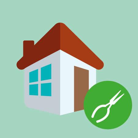 house under construction: Tools design over green background, vector illustration