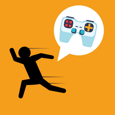 videogame: Video games design over orange background, vector illustration