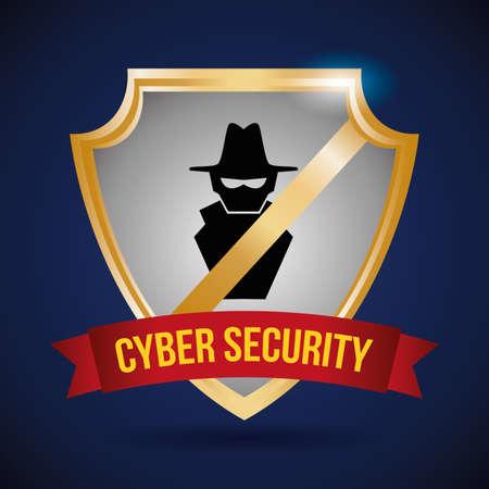trajan: security system design over blue background, vector illustration Illustration