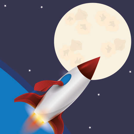 space background: Spaceship design over space background, vector illustration