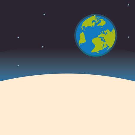 colonisation: Planet icona del design nello spazio sfondo, illustrazione vettoriale