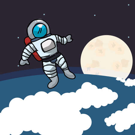 astral travel: astronaut design over space background, vector illustration Illustration