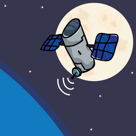 orbital spacecraft: satellite design over space background, vector illustration