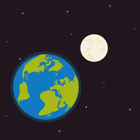 colonization: Planet icon design over space background, vector illustration Illustration
