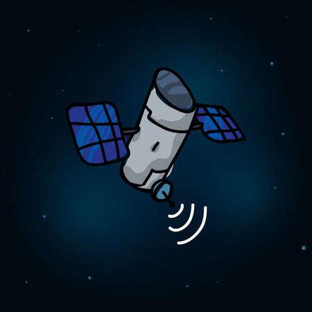 orbital station: satellite design over space background, vector illustration