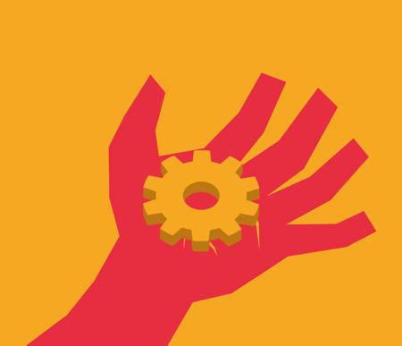 hand sign: Hand sign design over orange background, vector illustration