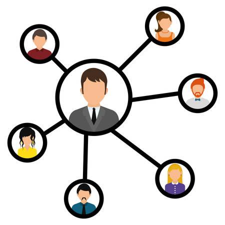 Network design over white background, vector illustration.