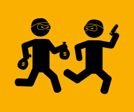 burglary: justice icon design over yelllow background, vector illustration Illustration