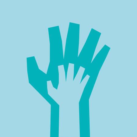hand sign: Hand sign design over blue background, vector illustration Stock Illustratie