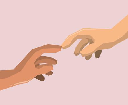 hand sign: Hand teken ontwerp over paarse achtergrond, vector illustratie