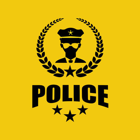 police officer: justice icon design over yelllow background, vector illustration Illustration