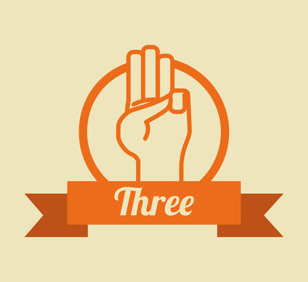 hand sign: Hand teken ontwerp over gele achtergrond, vector illustration