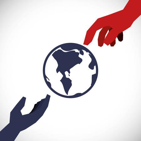 hand sign: Hand sign design over white background, vector illustration