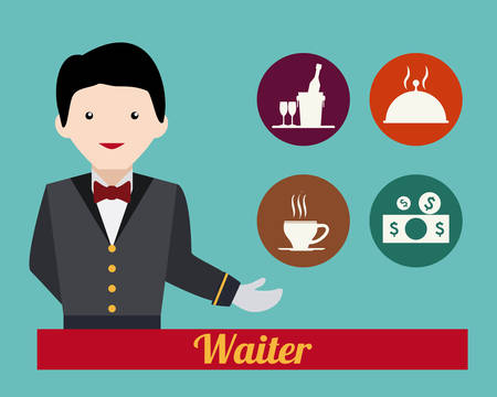 restaurant bill: Restaurant design over blue background, vector illustration. Illustration