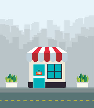 city background: Shopping icon design over city background, vector illustration Illustration