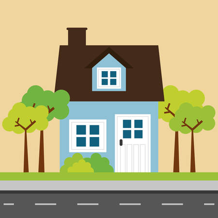 hometown: House design over yellow background, vector illustration.
