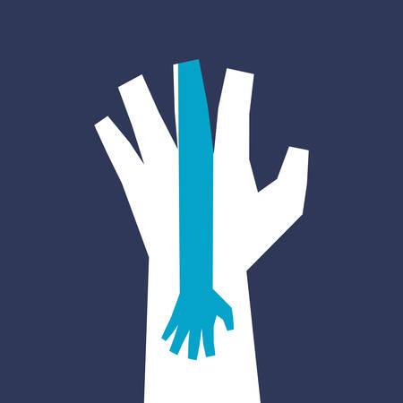 hand sign: Hand teken ontwerp over blauwe achtergrond, vector illustratie