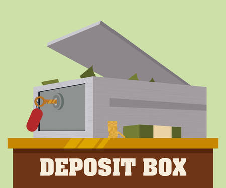 strongbox: Strongbox design over green background, vector illustration.