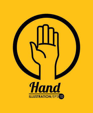 hand sign: Hand sign design over yellow background, vector illustration