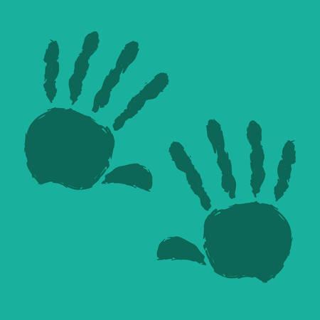 hand sign: Hand sign design over green background, vector illustration Illustration