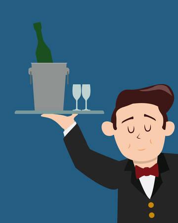 aliment: Restaurant design over blue background, vector illustration. Illustration