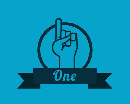 hand sign: Hand sign design over blue background, vector illustration Illustration