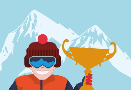 Snowboarding design over blue background, vector illustration Illustration