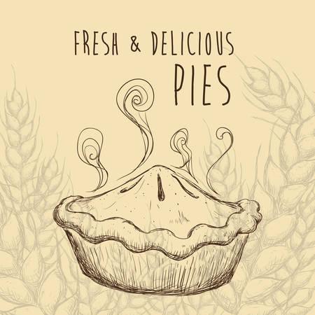 甘い食べ物: パステルの背景、ベクトル図の上の甘い食べ物デザイン