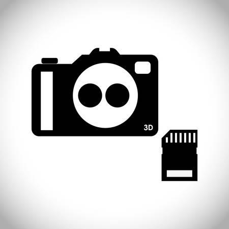 digicam: Camera design over white background, vector illustration