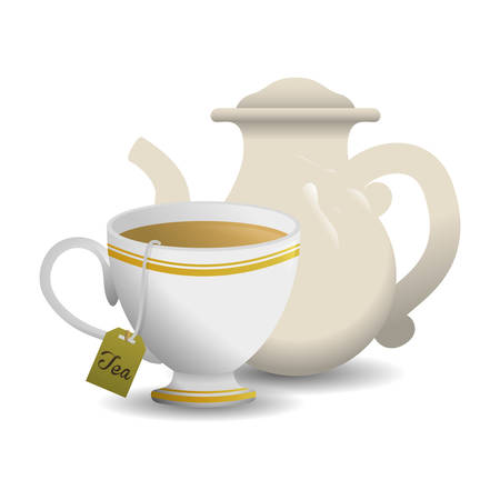 Tea time digital design, vector illustration 10 eps graphic Иллюстрация