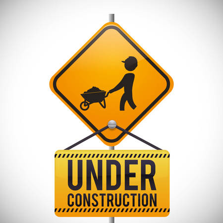 under construction sign: Under construction digital design, vector illustration 10 eps graphic