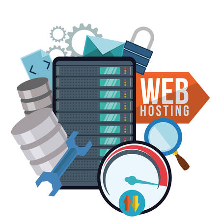 Web hosting digital design, vector illustration