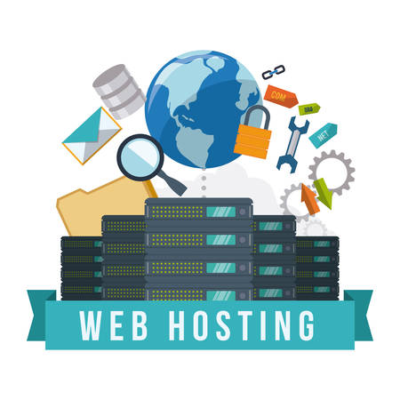 Web hosting digital design, vector illustration  일러스트