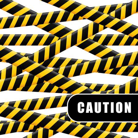 barrier tape: Caution design over white background, vector illustration.