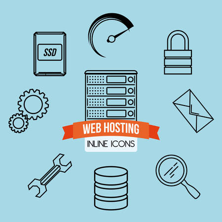 database concept: Web hosting digital design, vector illustration